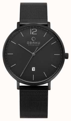 Obaku Mens toft relógio de cinta de malha de carvão V181GDBBMB