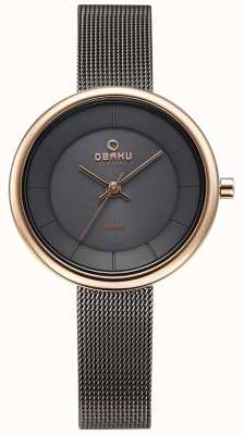 Obaku Womans lys granito malha pulseira relógio V206LRVJMJ