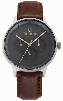 Obaku Mens venlig relógio de couro marrom V208GMCJRN