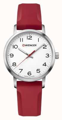 Wenger Relógio de pulseira de silicone vermelho avenida das mulheres 01.1621.105