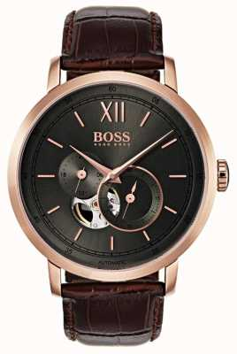 Boss Relógio de couro marrom automático para homem 1513506