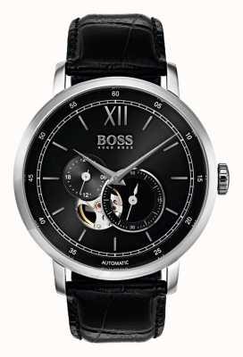 Hugo Boss Relógio de couro preto automático para homem 1513504
