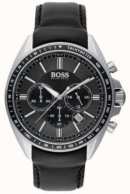 Hugo Boss Mens motorista esporte cronógrafo de couro preto 1513085