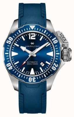 Hamilton Borracha azul do rã do homem-rã da marinha de Khaki H77705345
