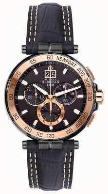 Michel Herbelin Mens newport iate clube cronógrafo pulseira preta mostrador preto 36656/TR14