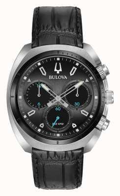 Bulova | curv | mens | cronógrafo | pulseira de couro preto | 98A155