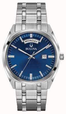 Bulova Mens clássico pulseira de aço inoxidável mostrador azul 96C125