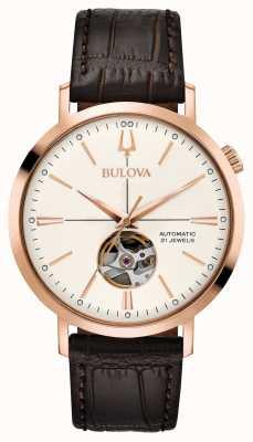 Bulova Mens clássico automático ouro tom rosa 97A136