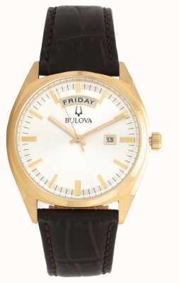 Bulova Mens tom ouro clássico com pulseira de couro 97C106