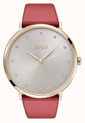 Hugo Boss Caso de mulher jillian gold tone banhado a tan couro 1502411