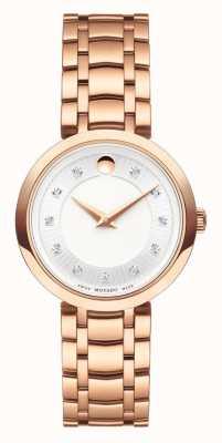 Movado Womans 1881 quartzo rosa pulseira de tom de ouro 0607100