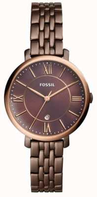 Fossil Relógio de aço inoxidável marrom da mulher jacqueline ES4275