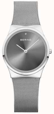 Bering Unissex clássico sunray dial prata milanese 12130-009