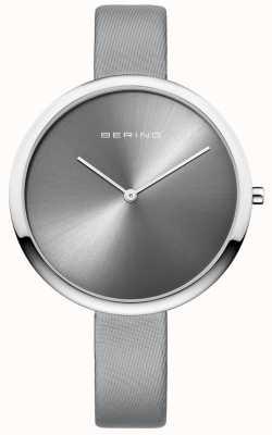 Bering Correia de couro cetim clássico da mulher sunray dial prata 12240-609