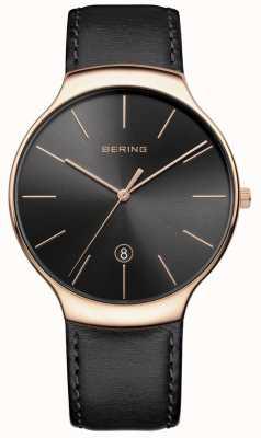 Bering Bracelete de couro preto data clássico para homem 13338-462
