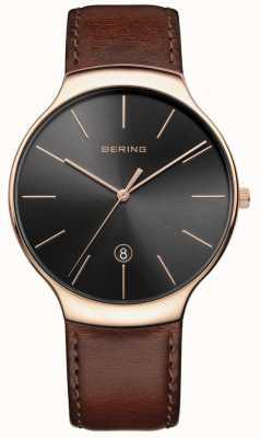Bering Pulseira de couro marrom clássico para homem 13338-562