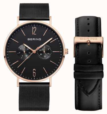 Bering Multifuncional para homem com pulseira preta de couro e milanesa 14240-166