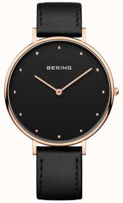 Bering Relógio de pulseira de couro preto clássico da mulher 14839-462