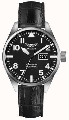 Aviator Mens airacobra p42 pulseira de couro preto mostrador preto V.1.22.0.148.4