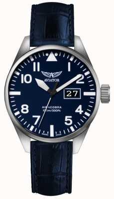 Aviator Mens airacobra p42 pulseira de couro azul mostrador azul V.1.22.0.149.4