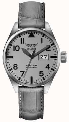 Aviator Mens airacobra p42 pulseira de couro cinza mostrador cinza V.1.22.0.150.4