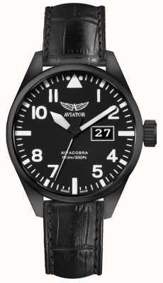 Aviator Mens airacobra p42 pulseira de couro preto mostrador preto V.1.22.5.148.4