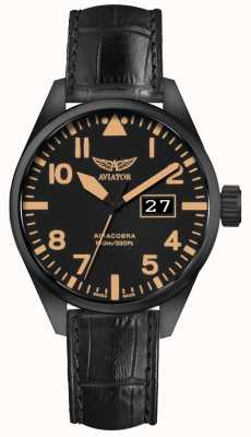 Aviator Mens airacobra p42 pulseira de couro preto mostrador preto V.1.22.5.157.4