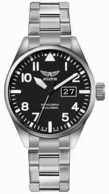 Aviator Mens airacobra p42 aço inoxidável pulseira de aço preto dial V.1.22.0.148.5