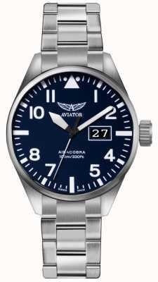Aviator Mens airacobra p42 aço inoxidável aço pulseira mostrador azul V.1.22.0.149.5