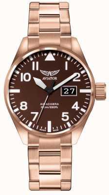 Aviator Mens airacobra p42 marrom pvd pulseira marrom pulseira de discagem V.1.22.2.151.5