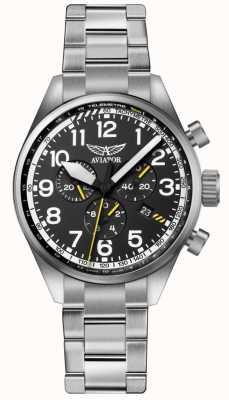 Aviator Mens airacobra p45 chrono pulseira de aço inoxidável preto dia V.2.25.0.169.5