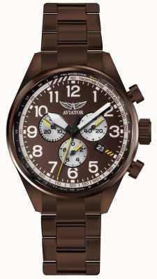 Aviator Mens airacobra p45 crono bronze pvd pulseira marrom discar V.2.25.8.172.5