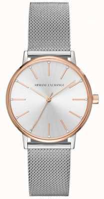 Armani Exchange Vestido de pulseira de malha de aço inoxidável da mulher AX5537
