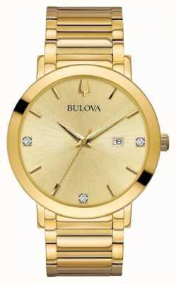 Bulova Mens diamante conjunto relógio de tom de ouro 97D115