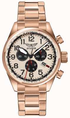 Aviator Mens airacobra p45 chrono rosa banhado a ouro mostrador creme V.2.25.2.173.5
