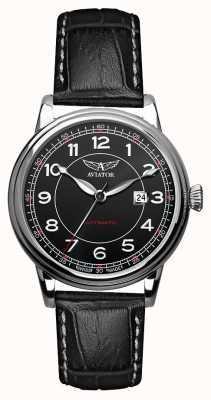 Aviator Mens douglas automático pulseira de couro preto mostrador preto V.3.09.0.107.4