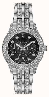 Bulova Relógio cronógrafo preto de cristal para mulher 96N110