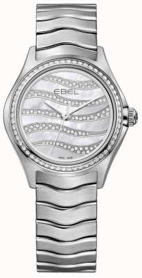 EBEL Womens onda 94 diamante relógio de aço inoxidável 1216270