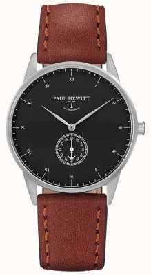 Paul Hewitt Pulseira de couro marrom de assinatura unisex PH-M1-S-B-1M