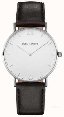 Paul Hewitt Cinta de couro preto marinheiro unisex PH-SA-S-ST-W-2M