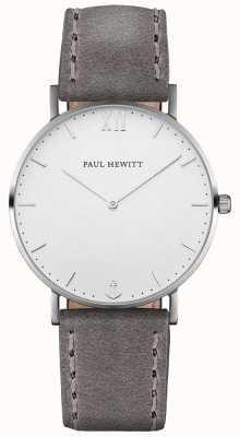 Paul Hewitt Cinta de couro cinza marinheiro unissex PH-SA-S-ST-W-13M