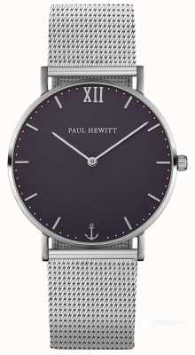 Paul Hewitt Pulseira de malha de aço prata marinheiro unisex PH-SA-S-ST-B-4M