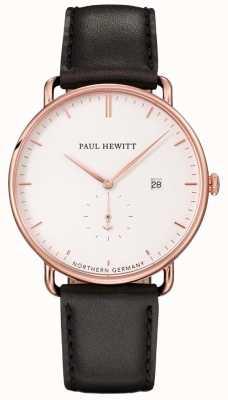 Paul Hewitt Unisex a grande pulseira de couro preta atlântica PH-TGA-R-W-2M