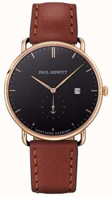 Paul Hewitt Mens a grande pulseira de couro marrom atlântico PH-TGA-G-B-1M