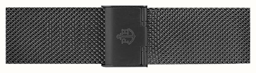 Paul Hewitt Pulseira de malha de aço inoxidável preto 186mm PH-M1-G-5M