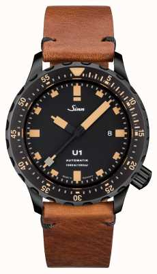 Sinn U1 se u-barco de aço marrom vintage v-stitch 1010.023