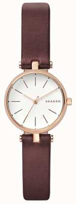 Skagen Mulheres signatur brown leather petit watch SKW2641