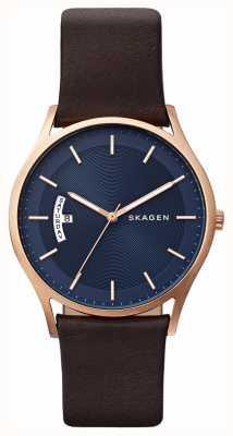 Skagen Relógio de detalhe de mostrador azul couro marrom masculino SKW6395