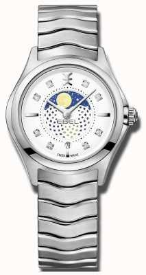 EBEL Womens onda diamante conjunto moonphase relógio de aço inoxidável 1216372