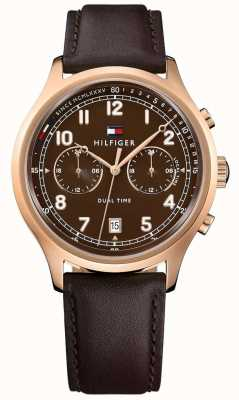 Tommy Hilfiger Mens emerson pulseira de couro marrom 1791387